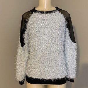 Fuzzy Sweater with Mesh